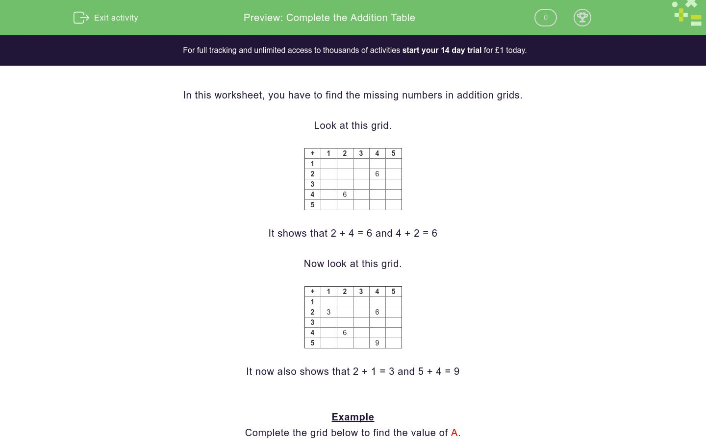 Complete The Addition Table Worksheet