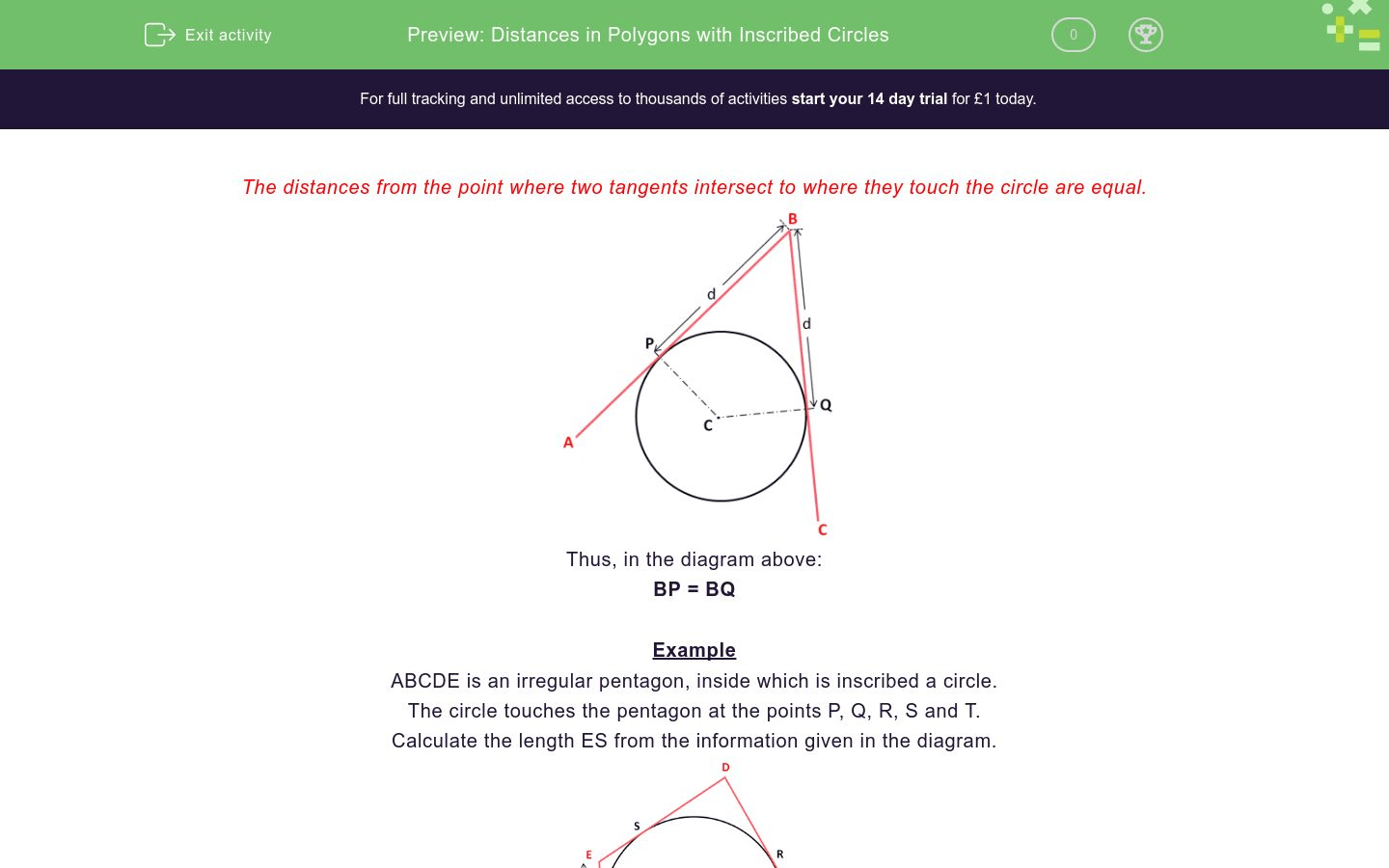Distances In Polygons With Inscribed Circles Worksheet