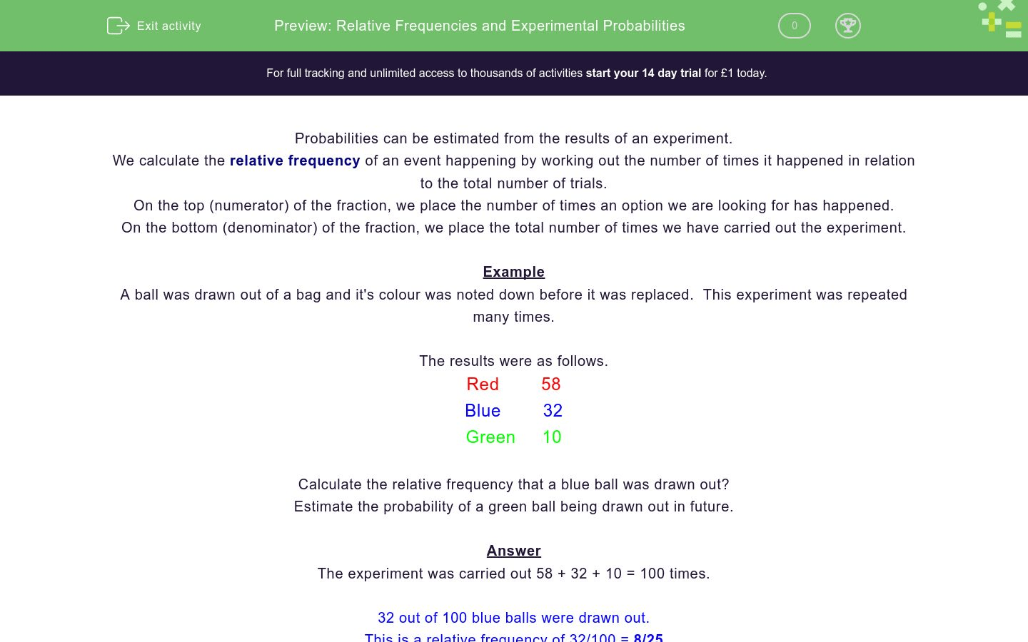 Relative Frequencies And Experimental Probabilities