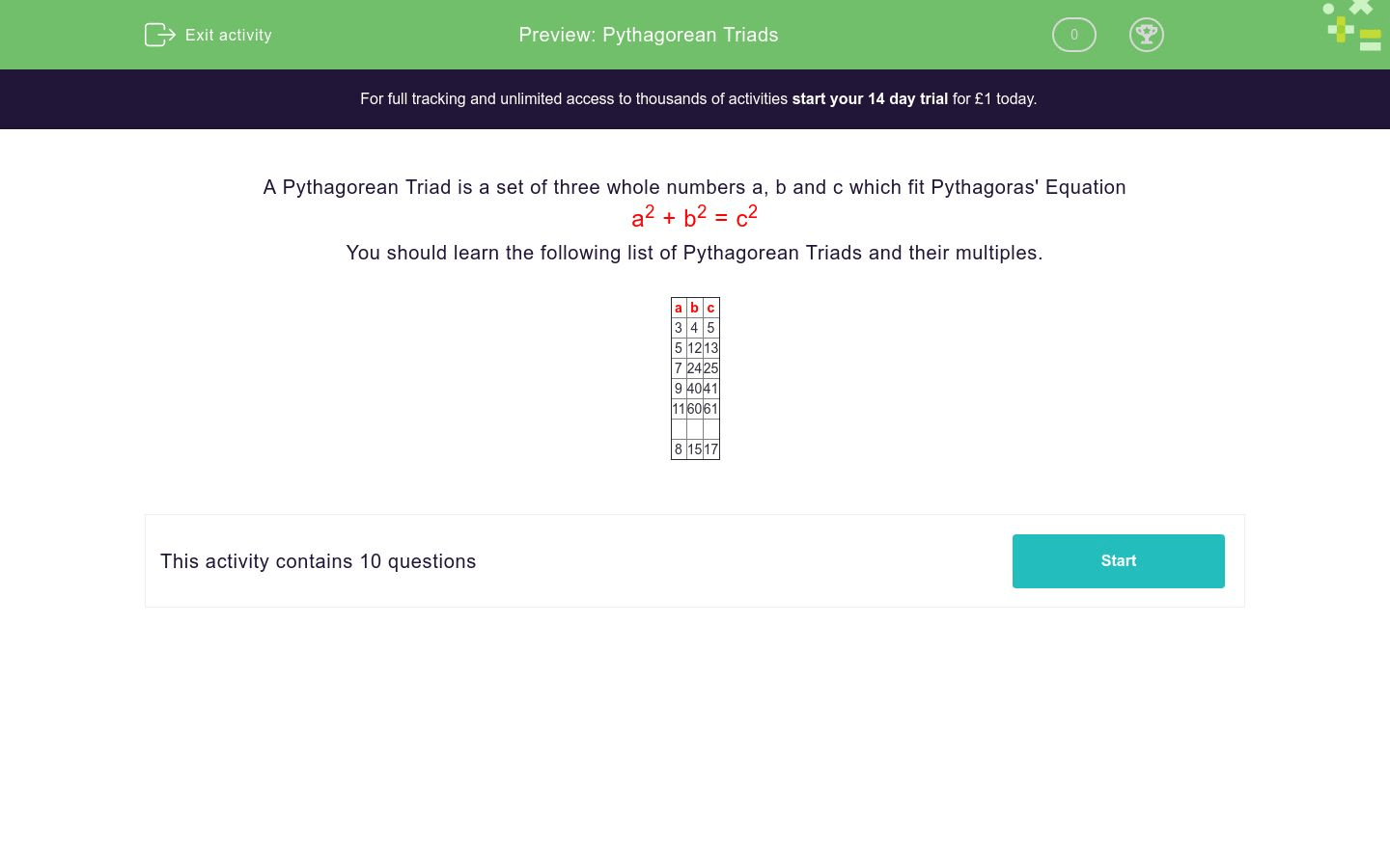Pythagorean Triads Worksheet