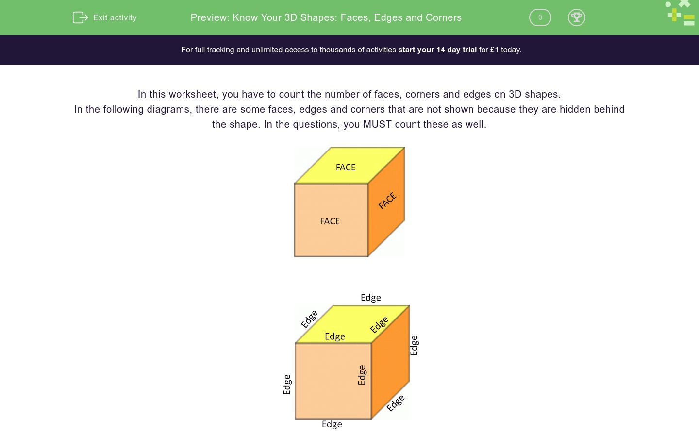 Know Your 3d Shapes Faces Edges And Corners Worksheet