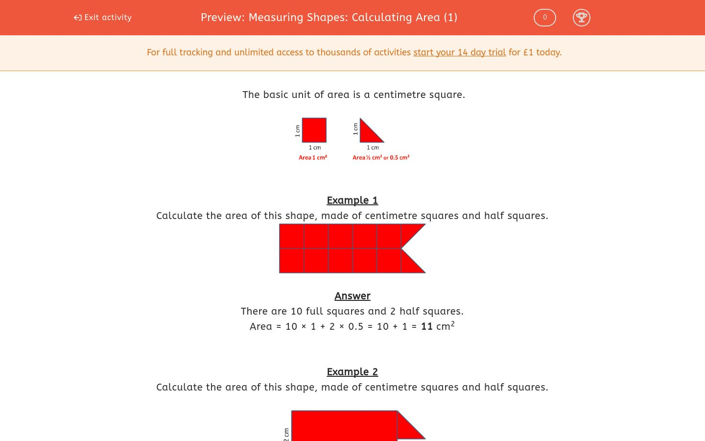 Measuring Shapes Calculating Area 1 Worksheet
