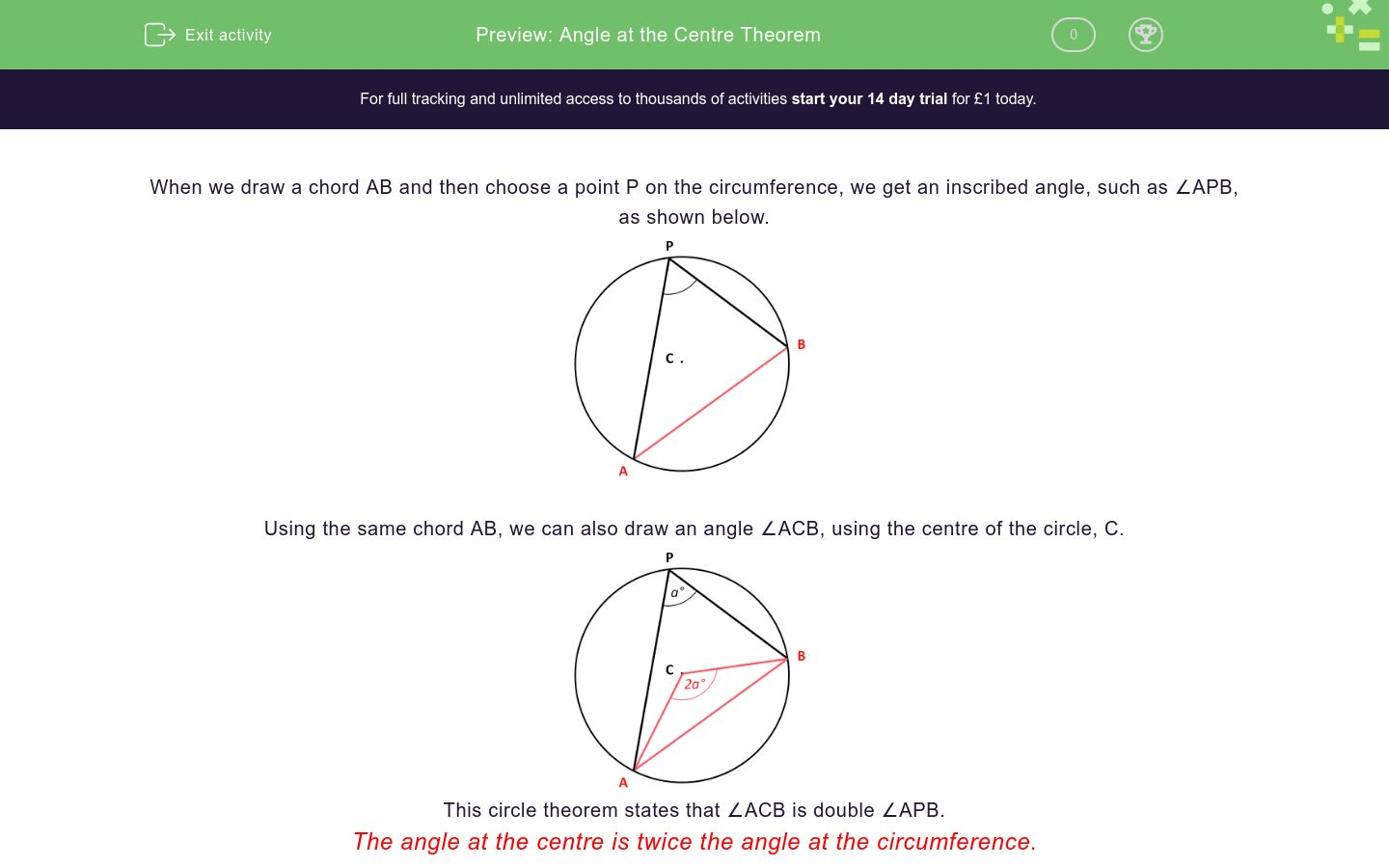 Angle At The Centre Theorem Worksheet