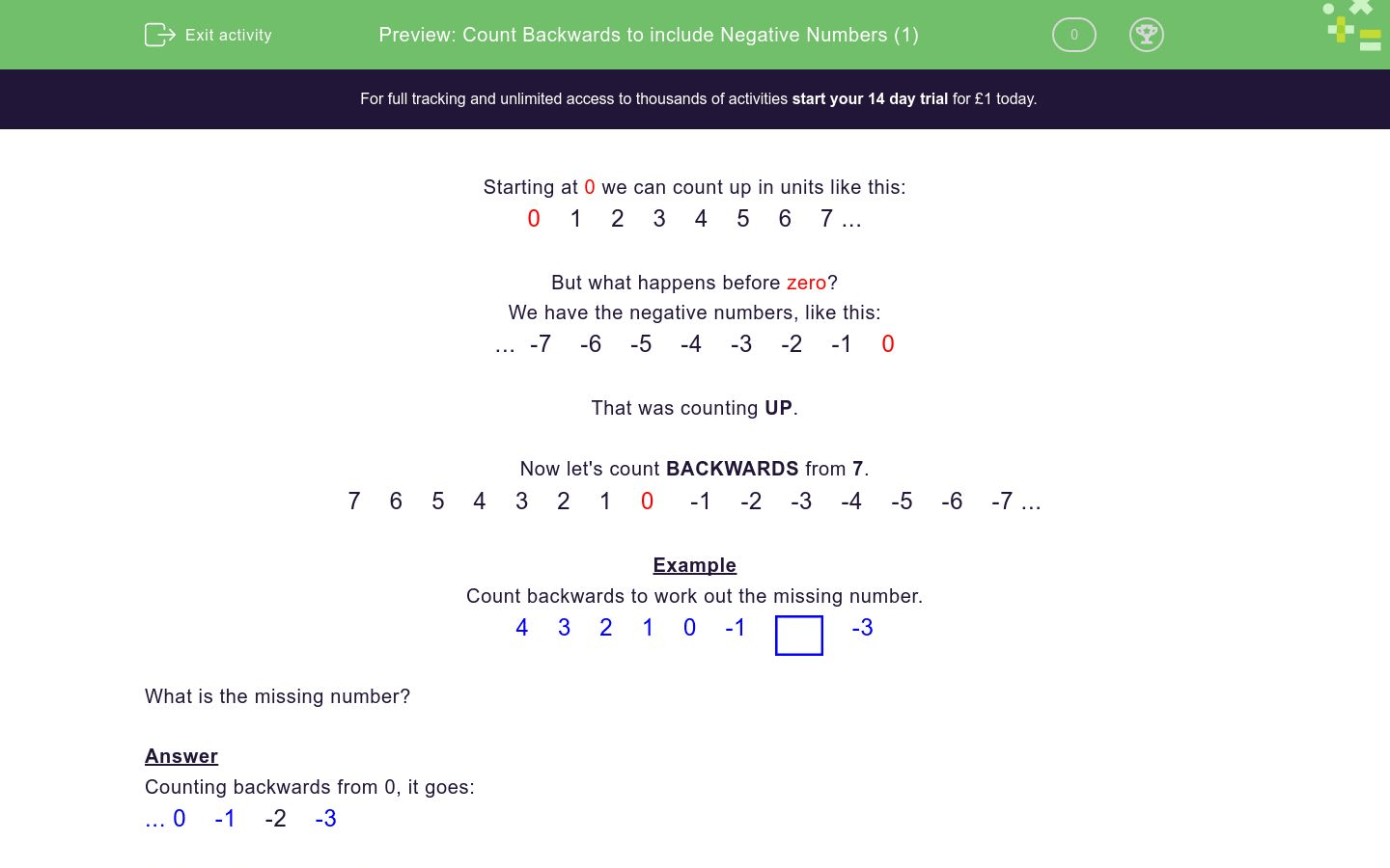 Count Backwards To Include Negative Numbers 1 Worksheet