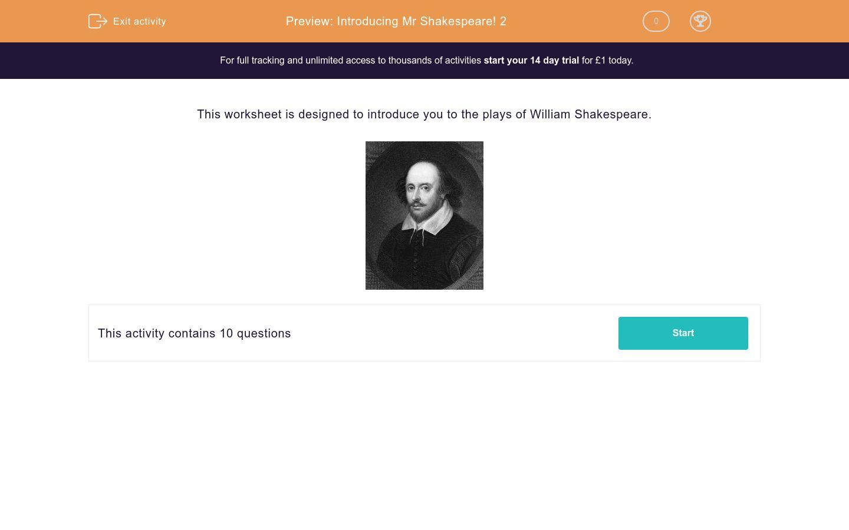 Introducing Mr Shakespeare 2 Worksheet