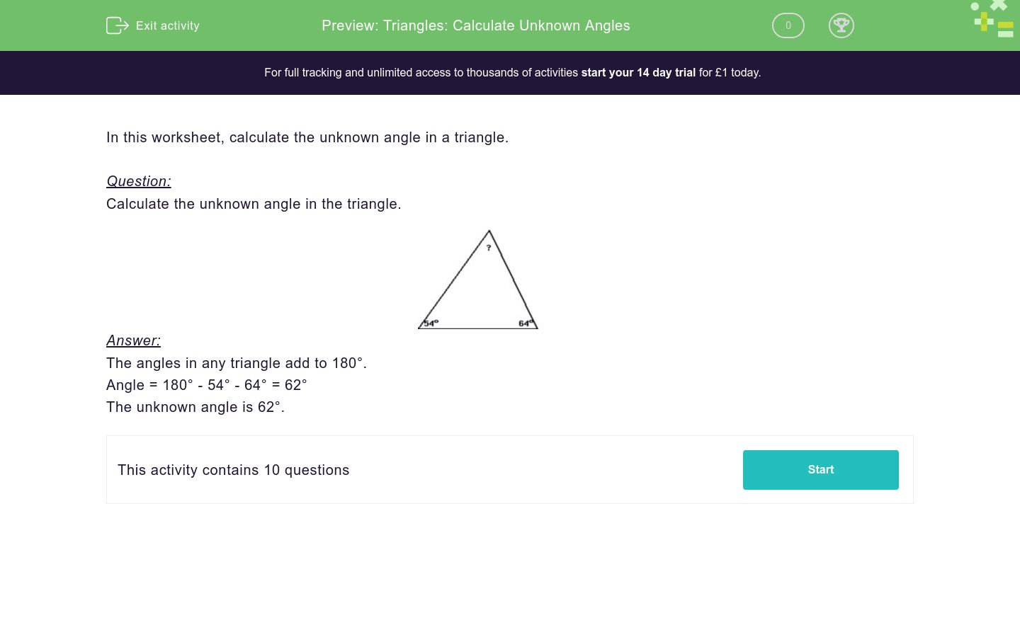 Triangles Calculate Unknown Angles Worksheet