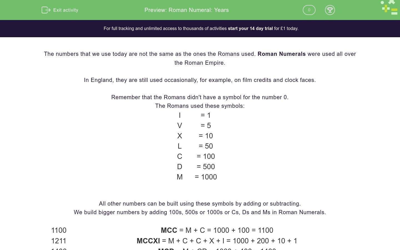 Roman Numeral Years Worksheet