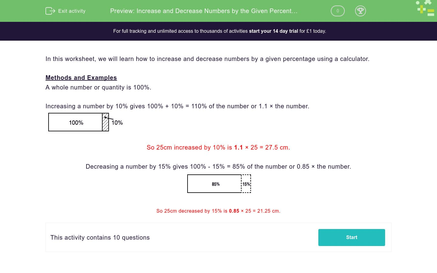 Increase And Decrease Numbers By The Given Percentages Worksheet