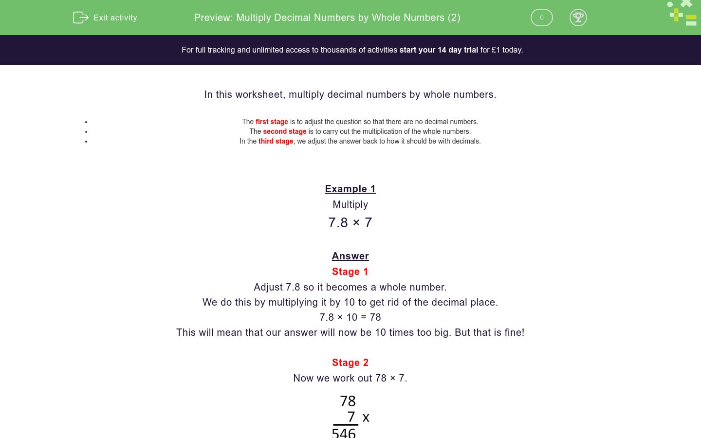 Multiply Decimal Numbers By Whole Numbers 2 Worksheet