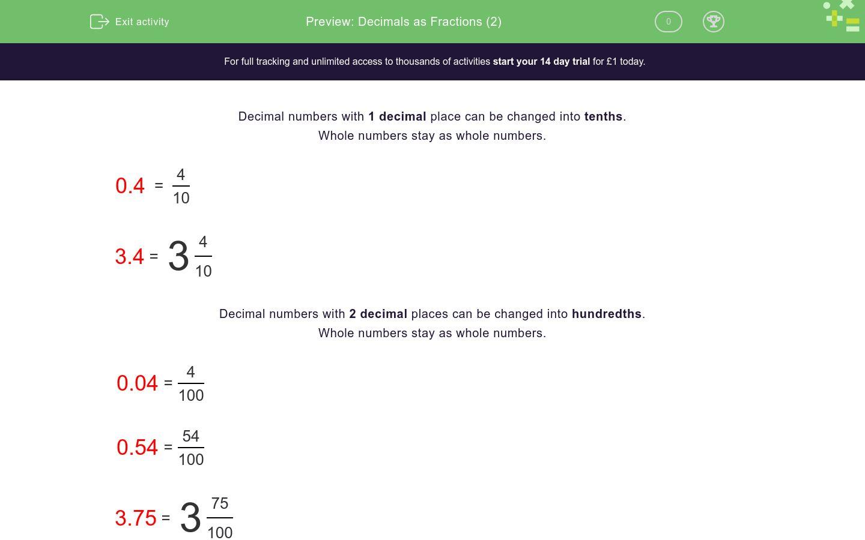 Decimals As Fractions 2 Worksheet