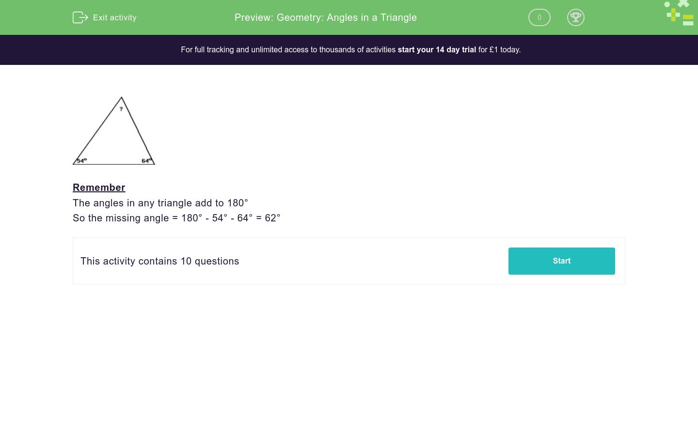 Geometry Angles In A Triangle Worksheet