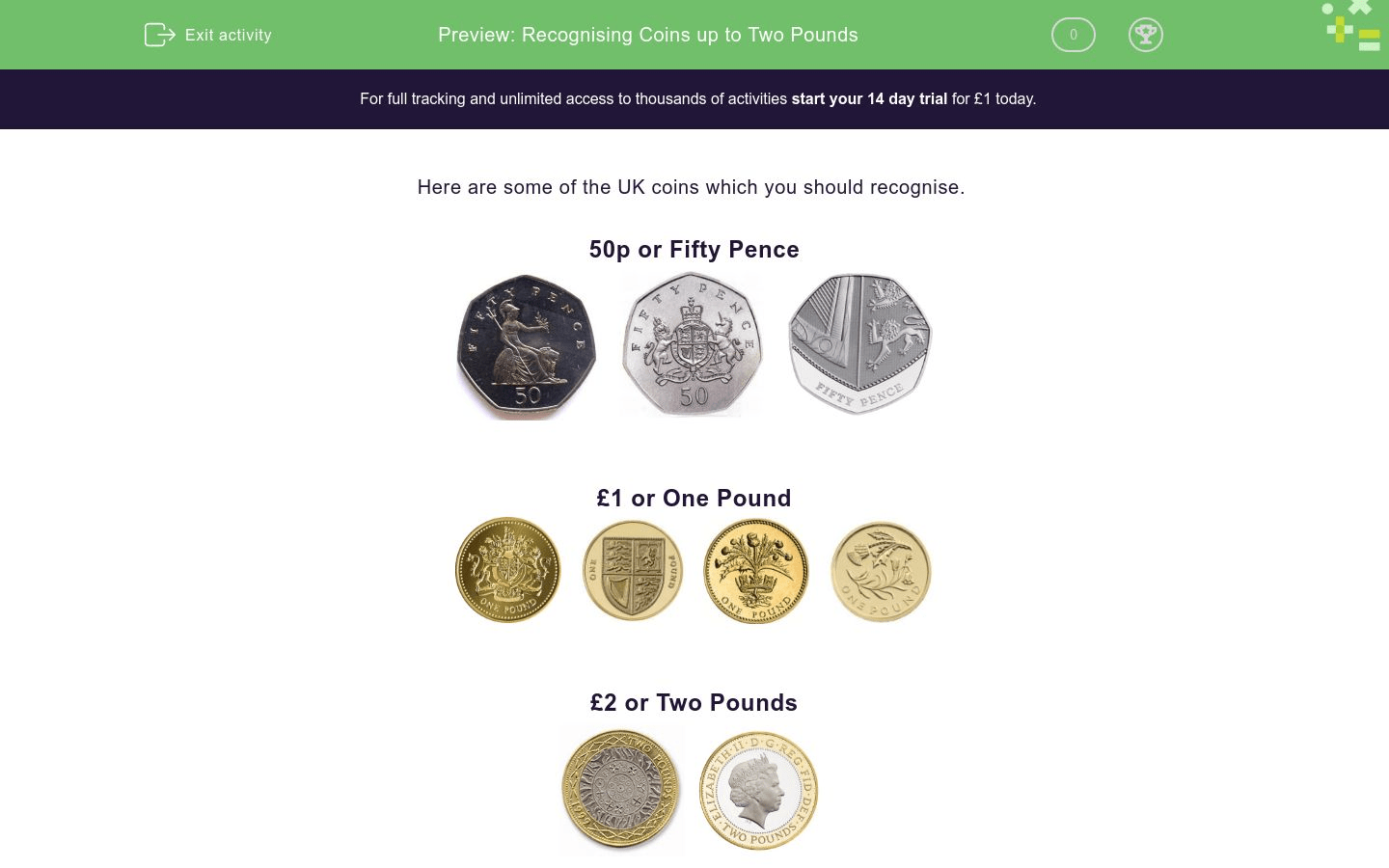 Recognising Coins Up To Two Pounds Worksheet