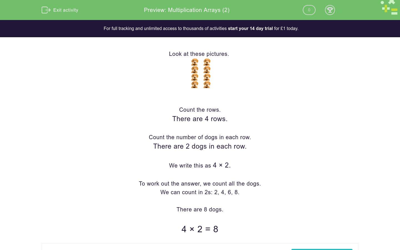 Multiplication Arrays 2 Worksheet