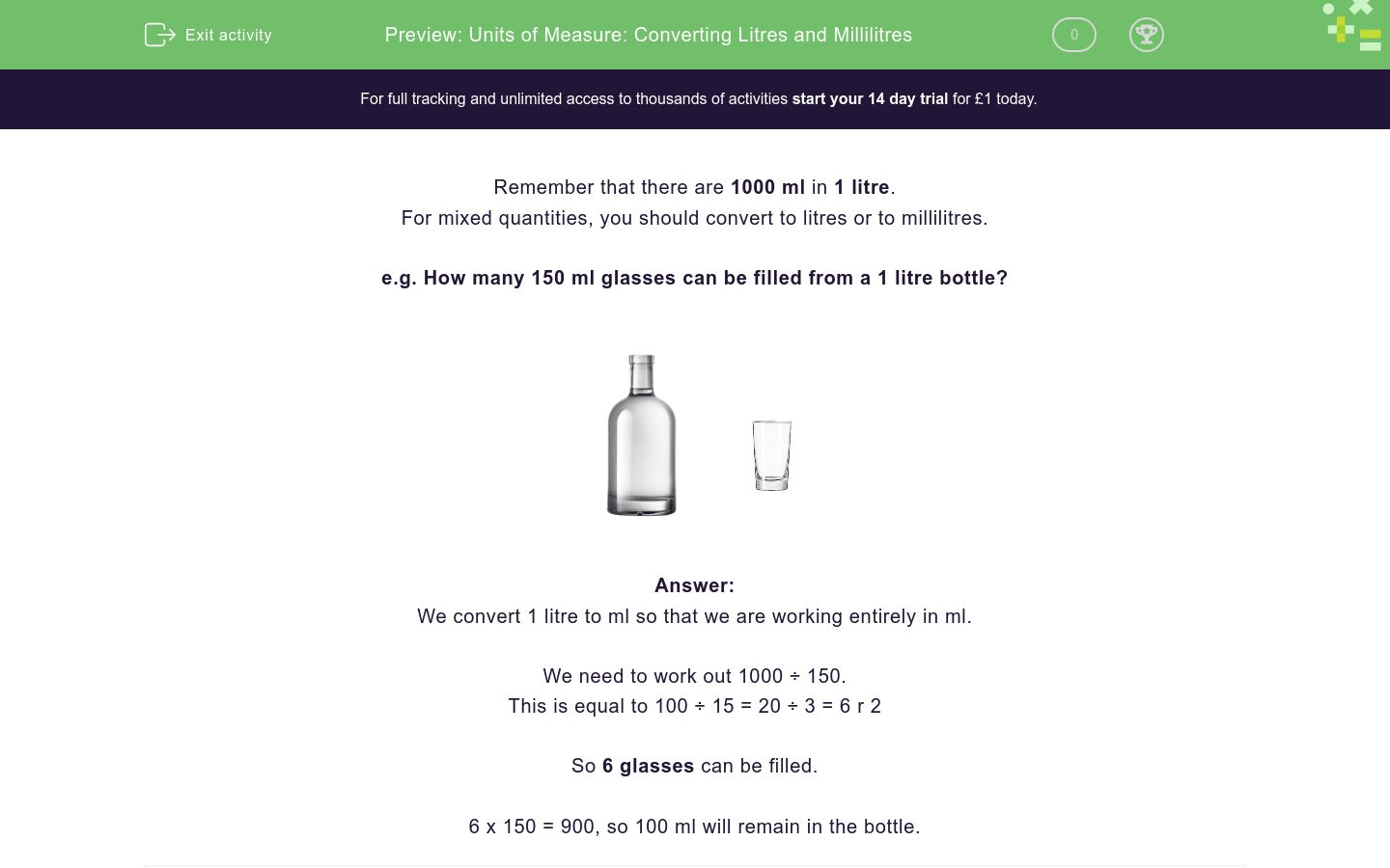 Units Of Measure Converting Litres And Millilitres