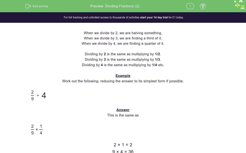 Dividing Fractions 2 Worksheet