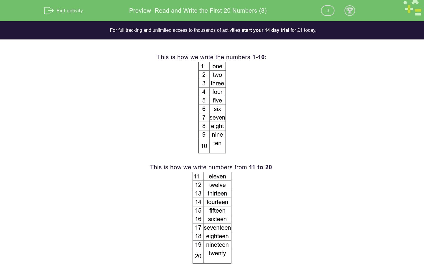 Read And Write The First 20 Numbers 8 Worksheet