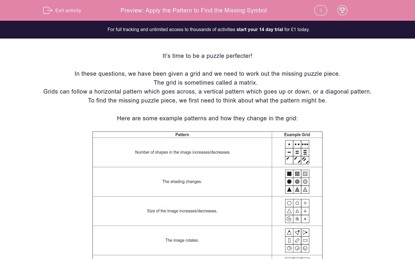 Apply The Pattern To Find The Missing Symbol Worksheet