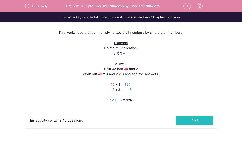 Multiply Two Digit Numbers By One Digit Numbers Worksheet