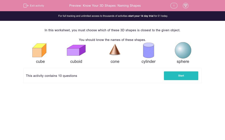 Know Your 3d Shapes Naming Shapes Worksheet