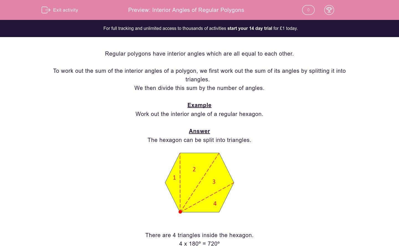 Interior Angles Of Regular Polygons Worksheet