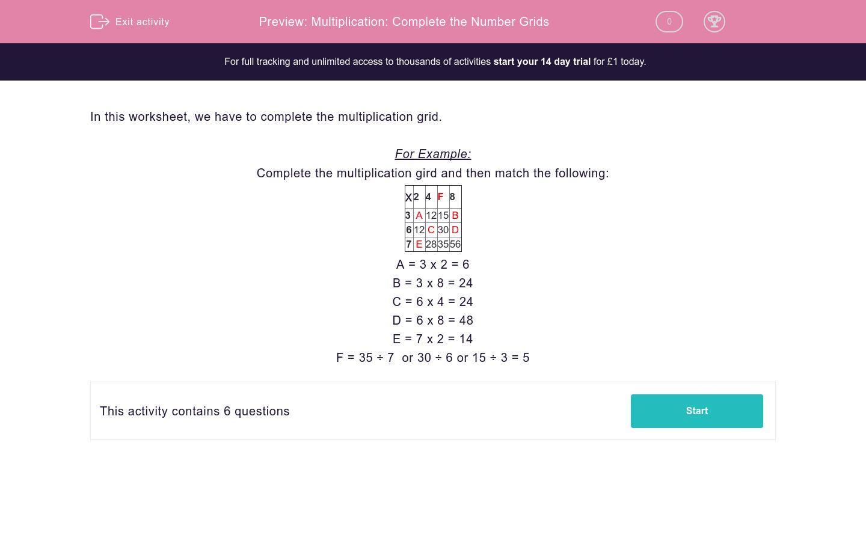Multiplication Complete The Number Grids Worksheet