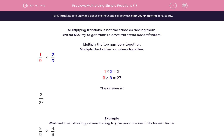 Multiplying Simple Fractions 1 Worksheet