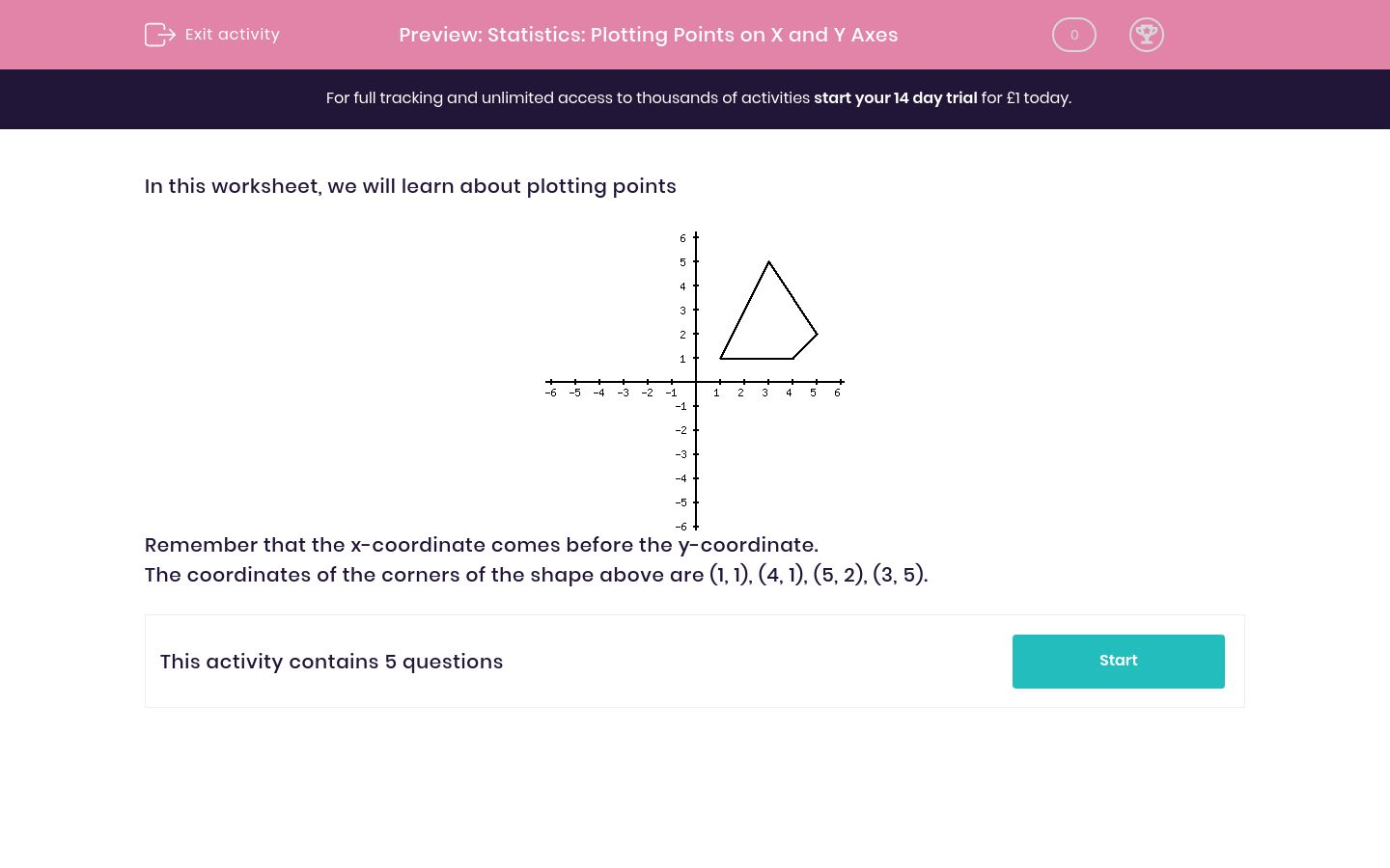 Statistics Plotting Points On X And Y Axes Worksheet