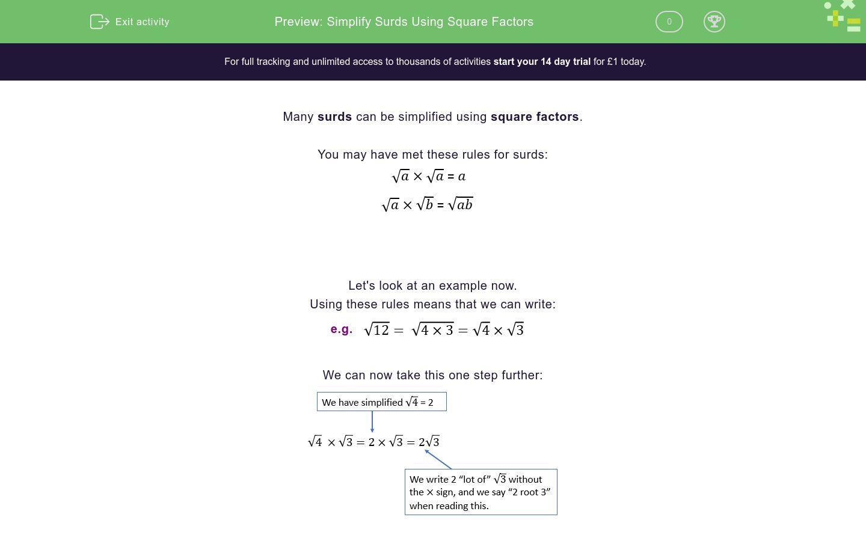 Simplify Surds Using Square Factors Worksheet
