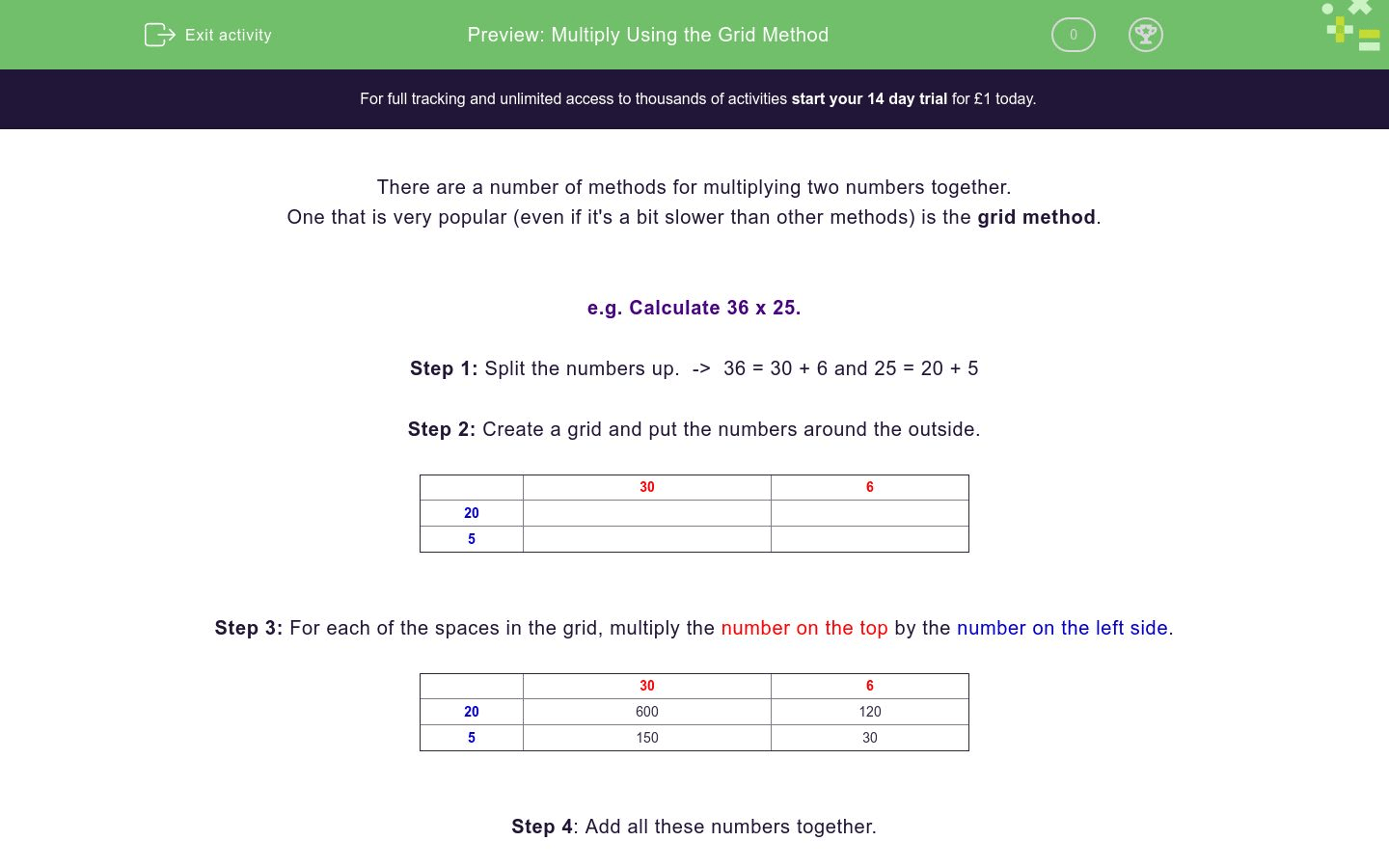 Multiply Using The Grid Method Worksheet