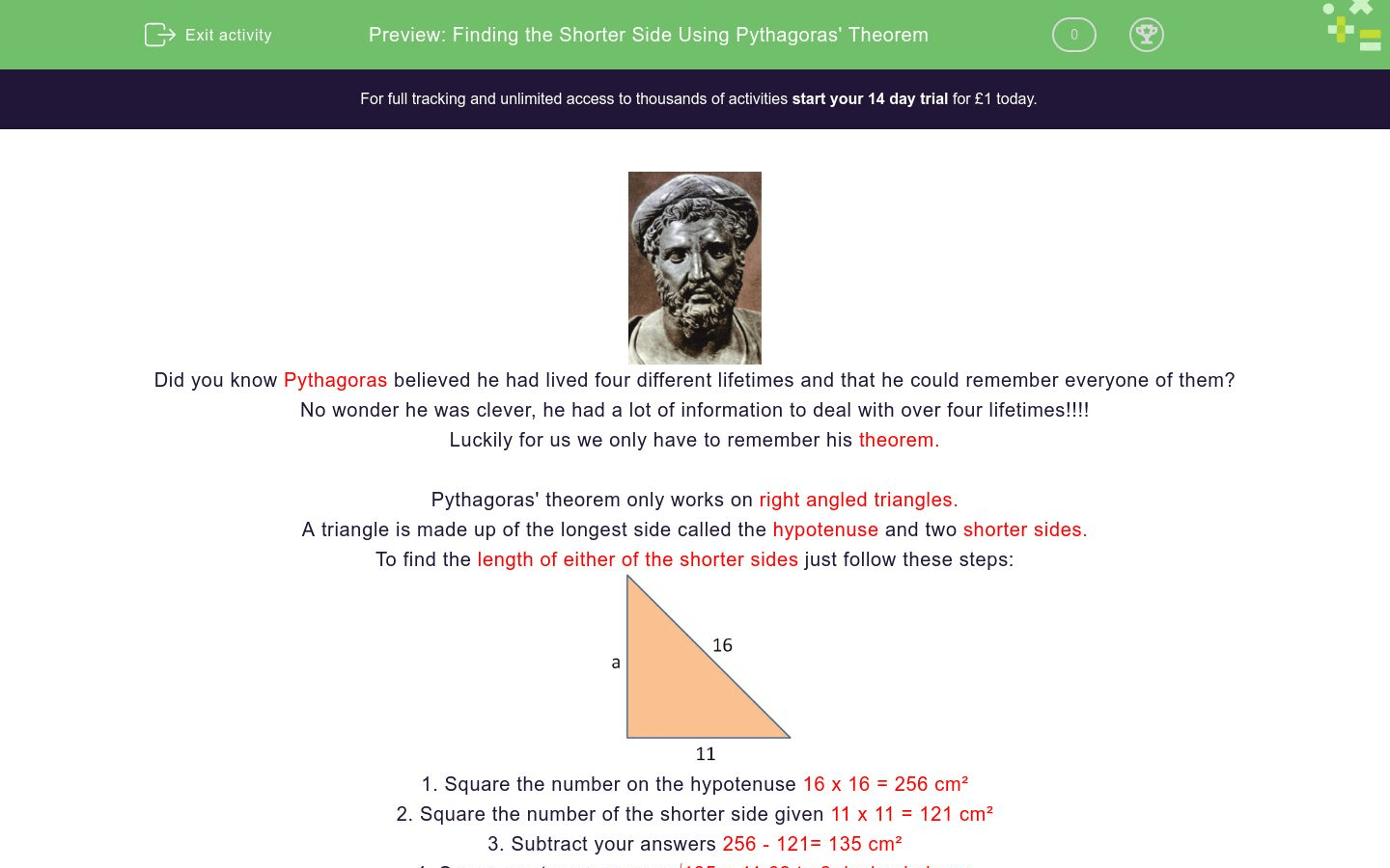 Finding The Shorter Side Using Pythagoras Theorem