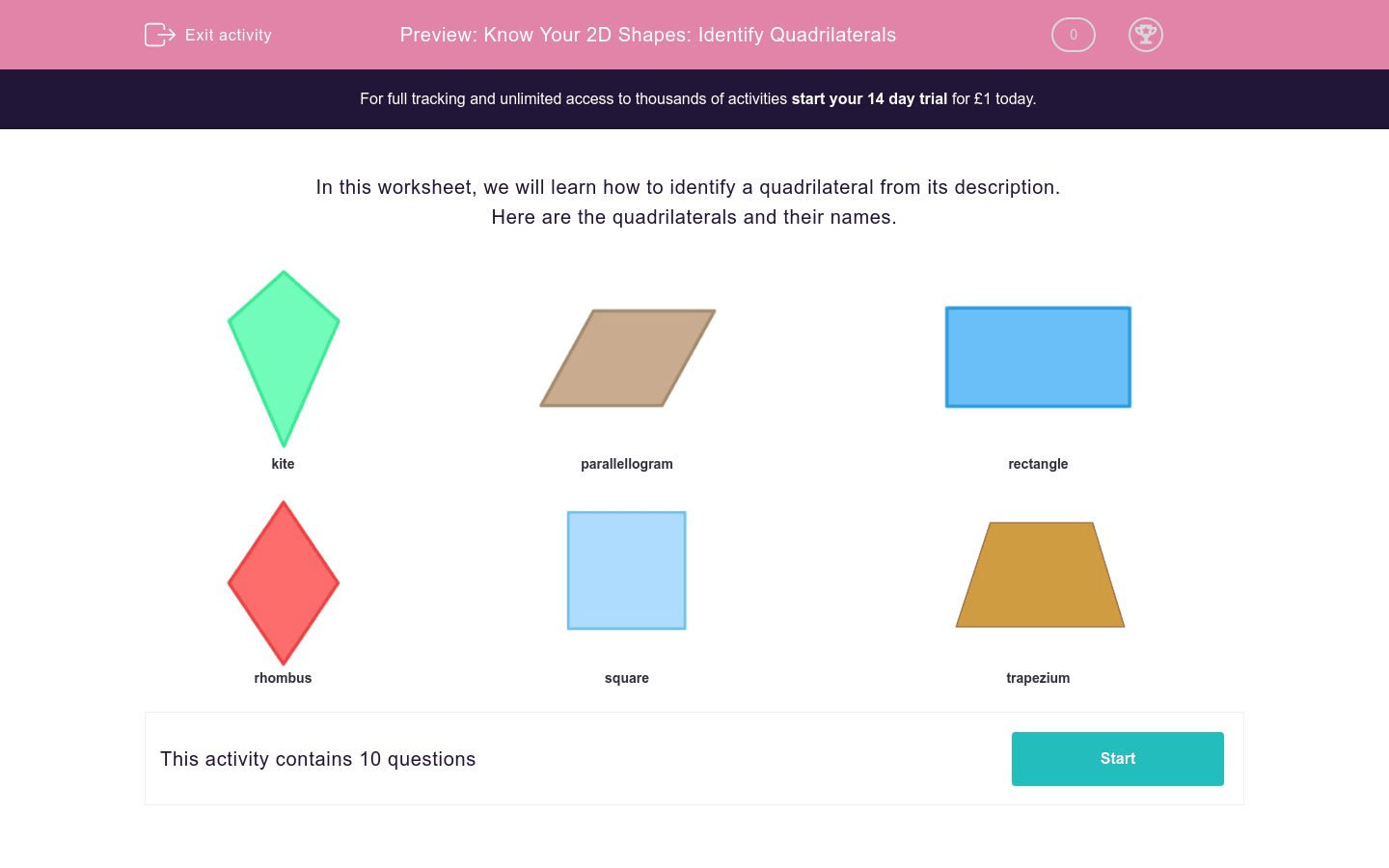 Know Your 2d Shapes Identify Quadrilaterals Worksheet