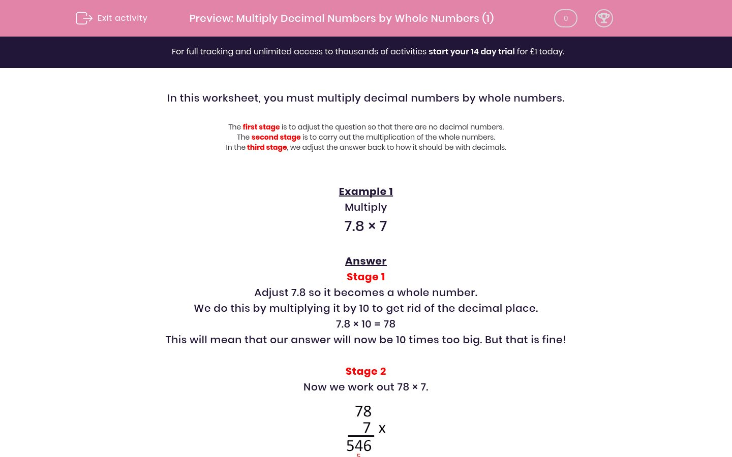 Multiply Decimal Numbers By Whole Numbers 1 Worksheet