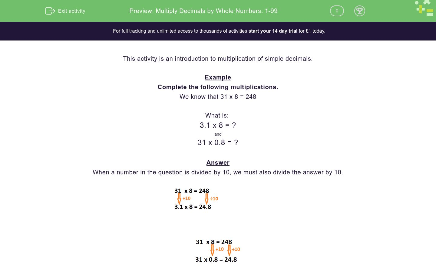 Multiply Decimals By Whole Numbers 1 99 Worksheet