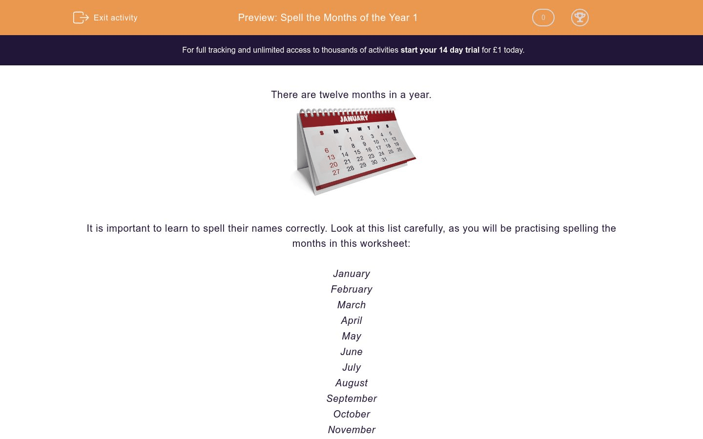 Spell The Months Of The Year 1 Worksheet