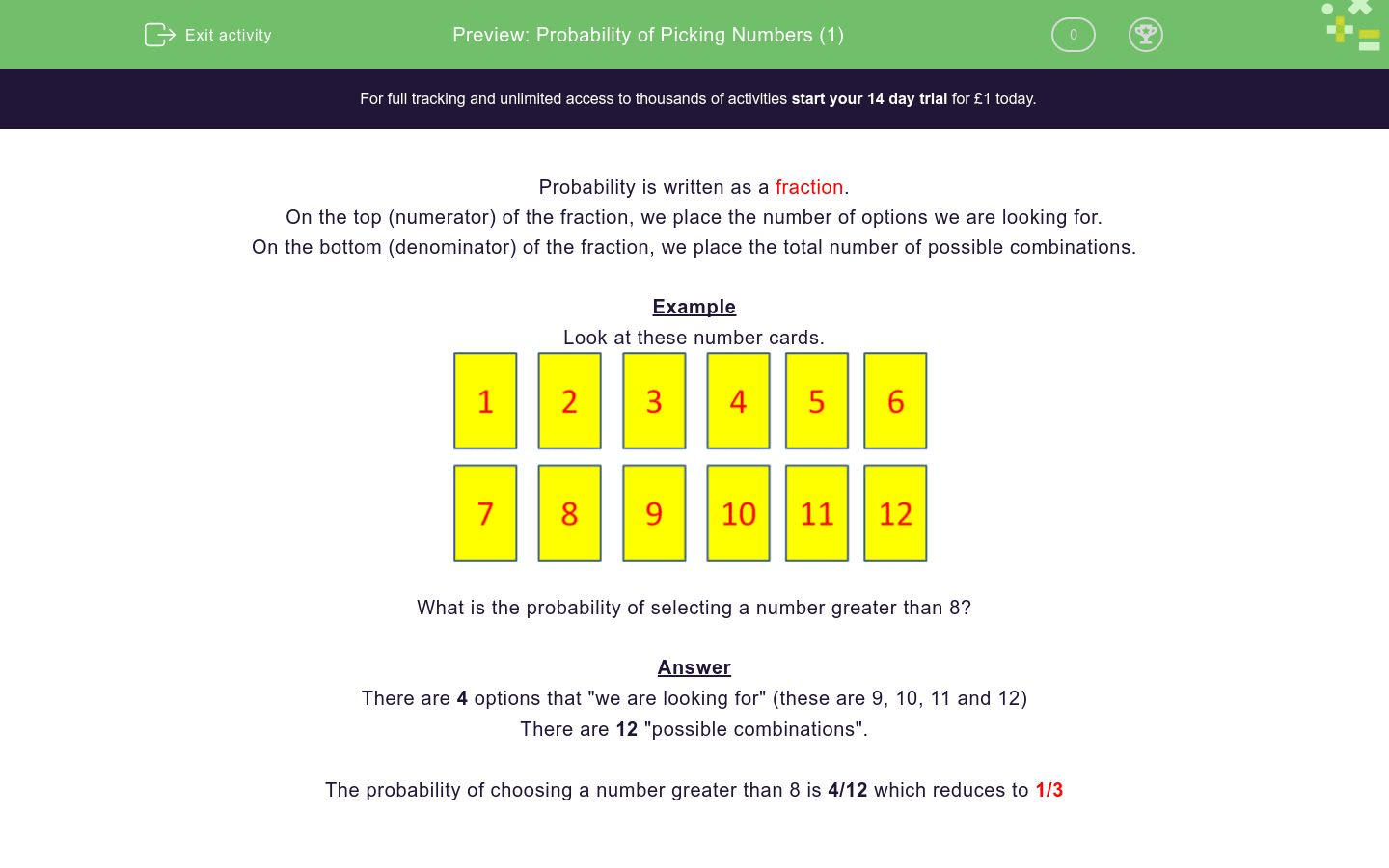 Probability Of Picking Numbers 1 Worksheet