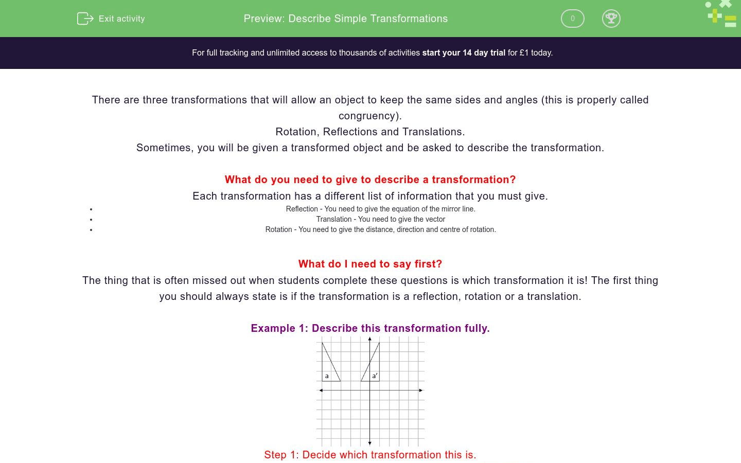 Describe Simple Transformations Worksheet