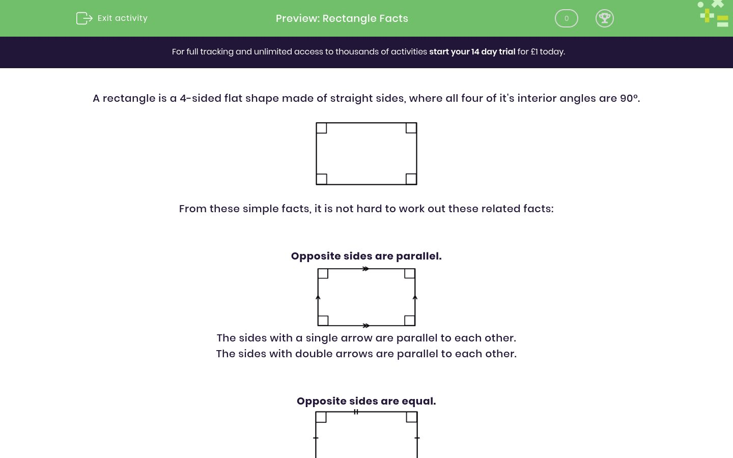 Rectangle Facts Worksheet
