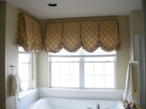Lined London shades valances for bathroom windows