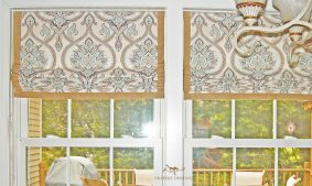 """Lined flat roman shades with contrast 1"""" banding around edges for a Kitchen"""