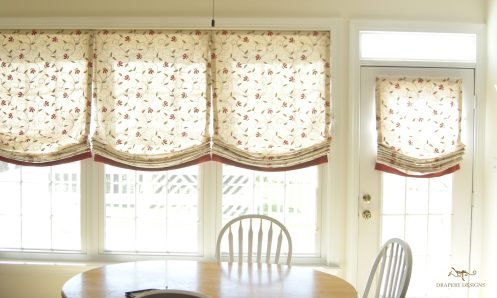 Contrast banded roman shades for wide windows