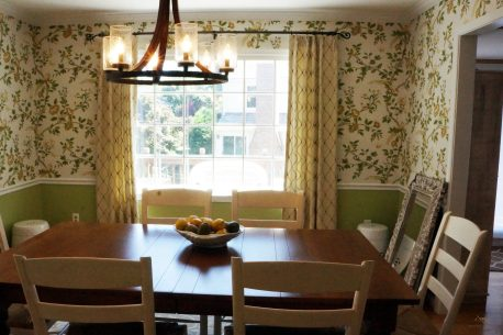 Side panels over wall paper for dining room double windows