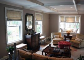 Lined flat roman shades valances for Living room