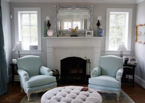 Custom upholstered armchair and ottoman 05
