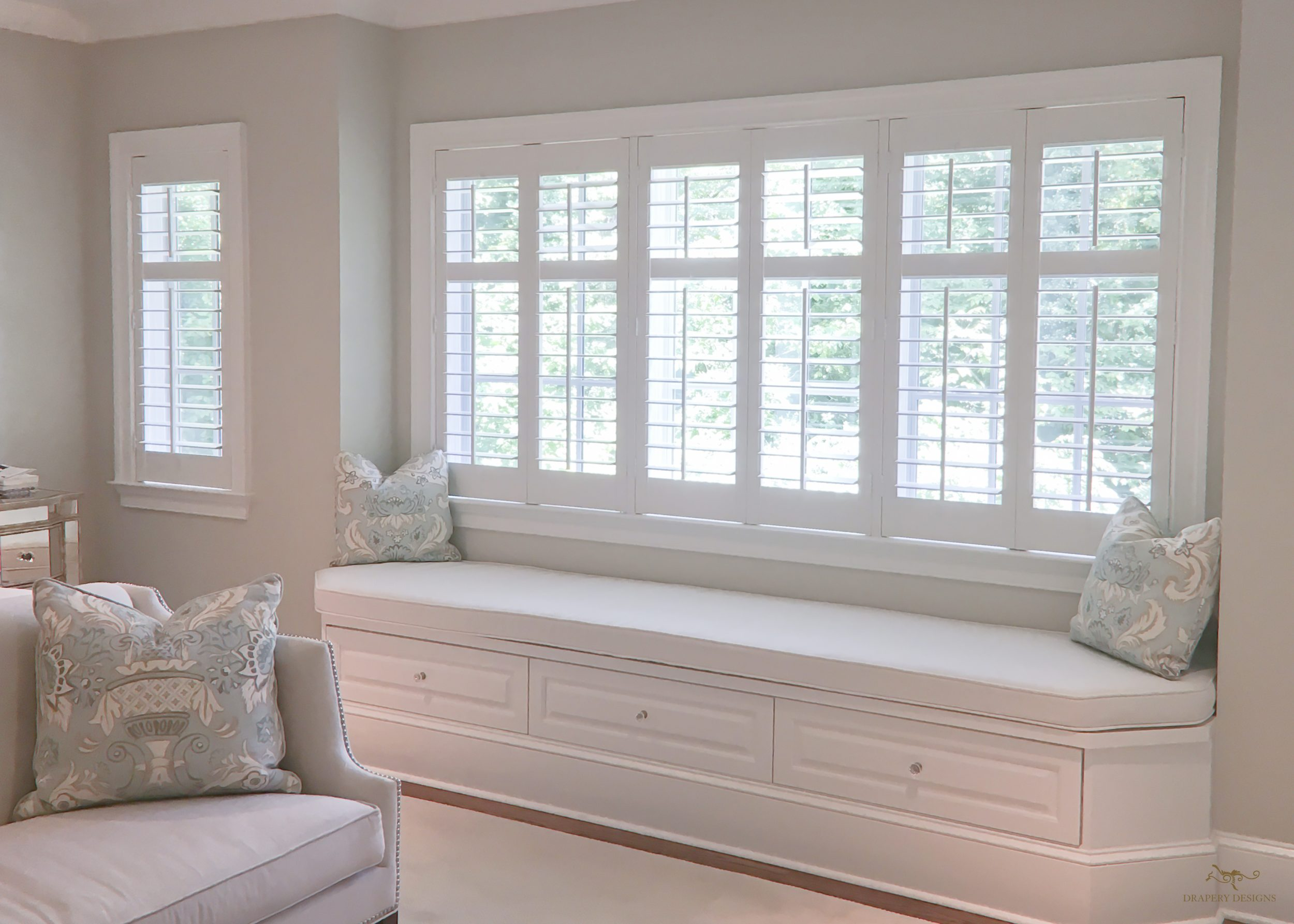 Window Seat Cushion Well Appointed Cottage Bathroom Features A Builtin Stained Oak