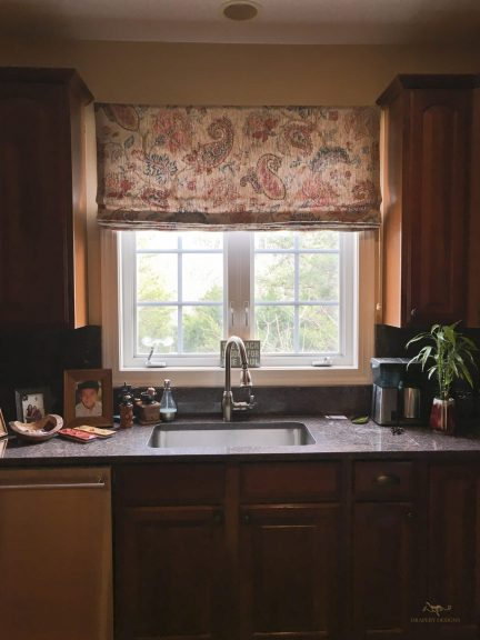 Custom made flat roman shade valance for kitchen window