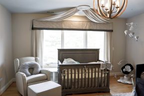 ceiling mounted canopy attached to the window treatment