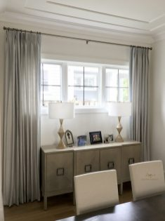 interlined silk panels with flat trim at the leading edge >300% fullness