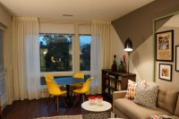 Simple sheers added to a modern family room