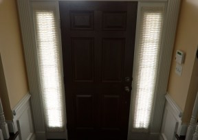 Flat door panels with quilted sheer fabric