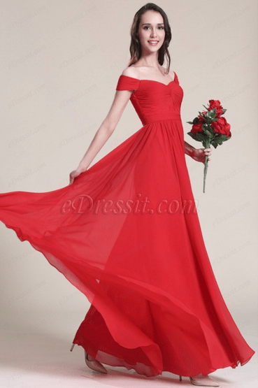 69a4dae1a79e This simple elegant off shoulder gown is your wardrobe must-have. The bold  color can definitely make a statement at any of your stylish occasions.